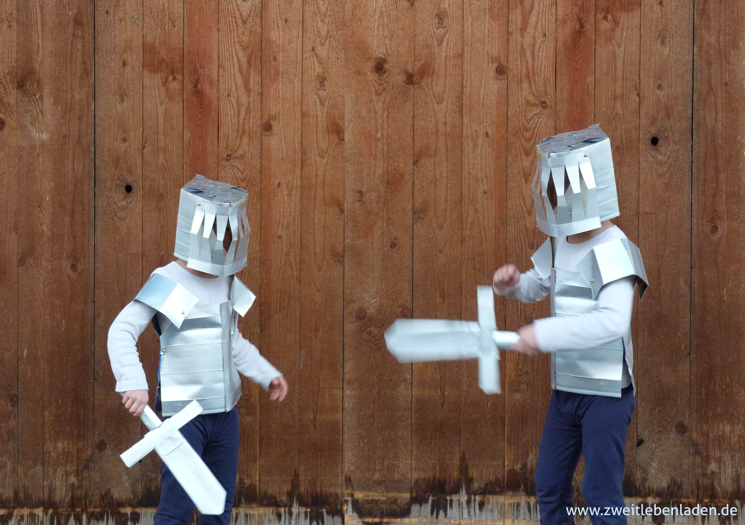 Ritterkampf_Ritterrüstung für Kinder aus Tetra Pak