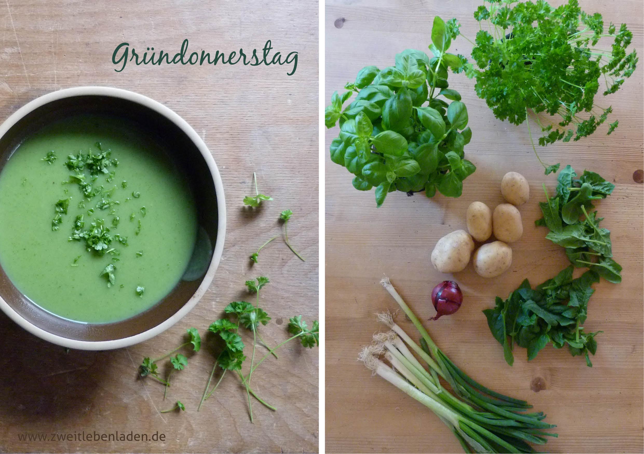 die Farben von Ostern - Gründonnerstag - wir denken an das letzte Abendmahl und essen grün