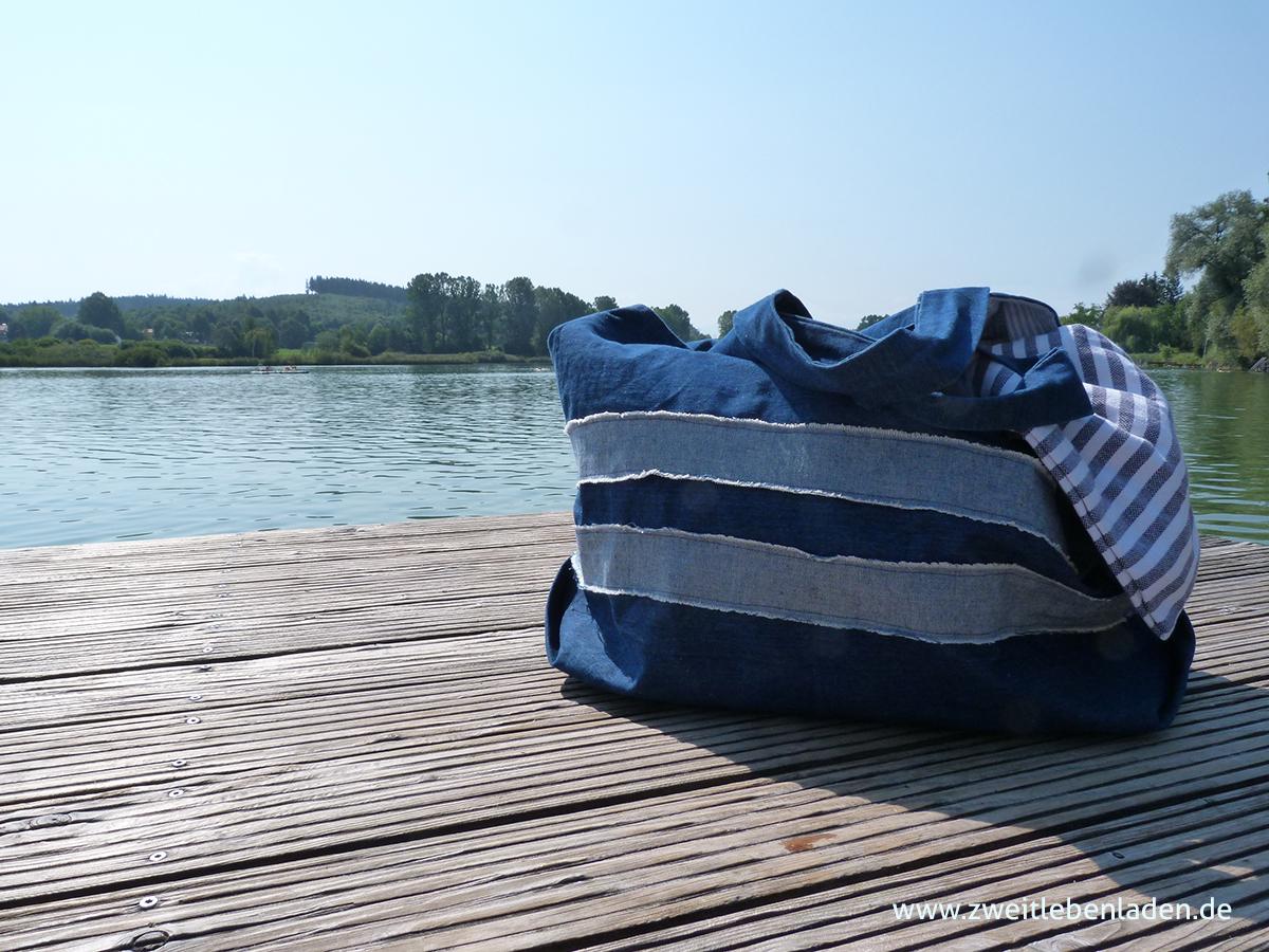 Tasche nähen - Strandtasche - Upcycling