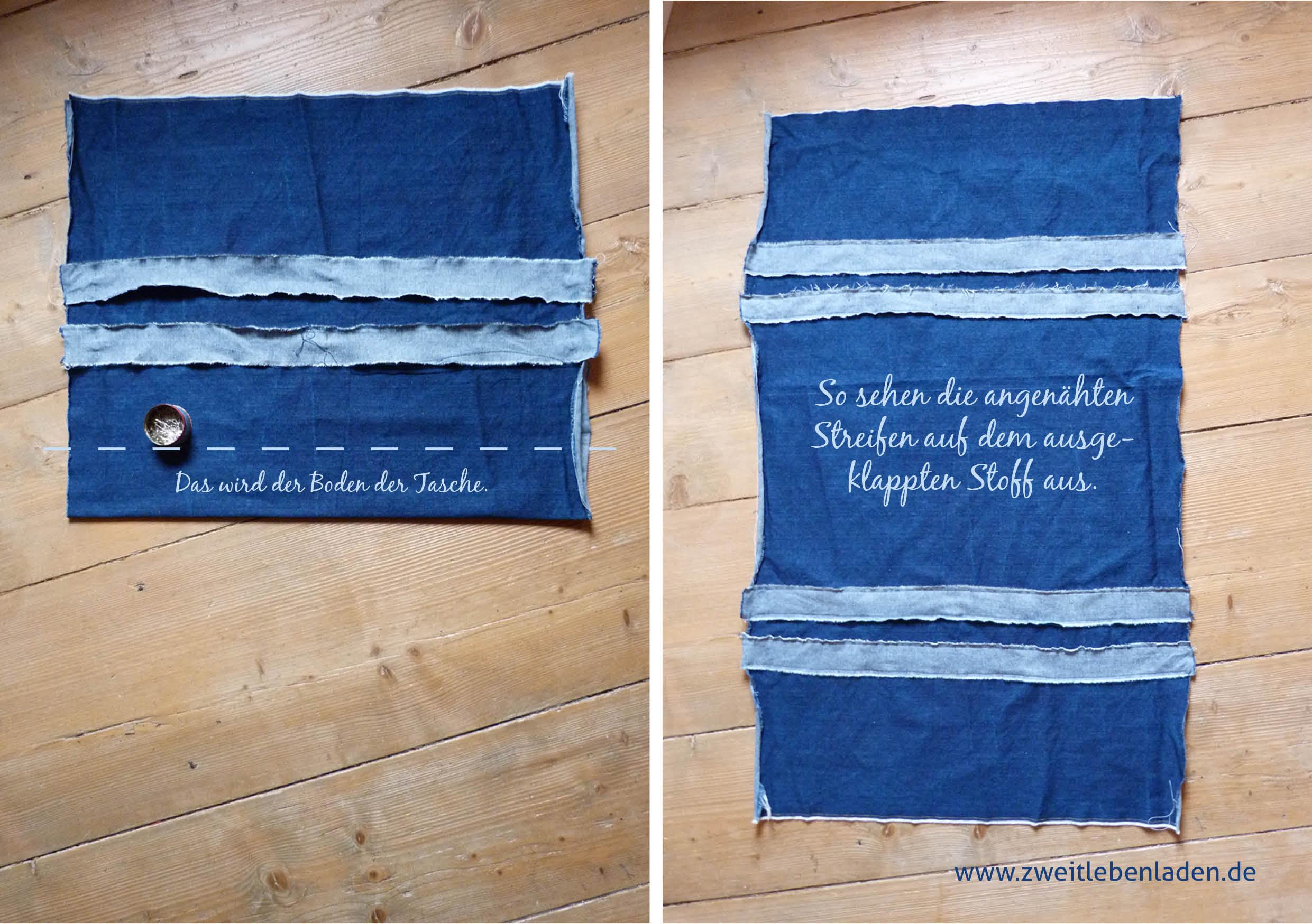 Tasche nähen - mit Streifen verzieren