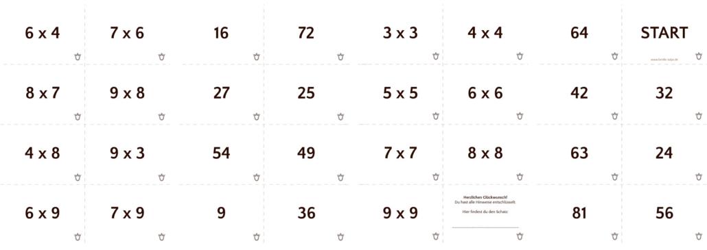 Spielkarten für die Einmaleins-Schatzsuche_kostenloser Download