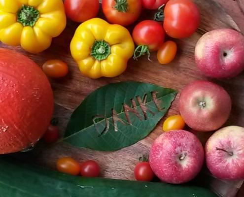 Erntedank feiern - Danke - Walnussblatt - Tomaten - Äpfel - Kürbis - Paprika