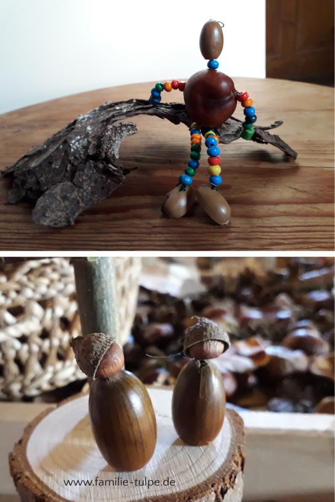 Kastanienmännchen aus Draht und Perlen basteln, Wichtel aus Eicheln und Naturmaterial