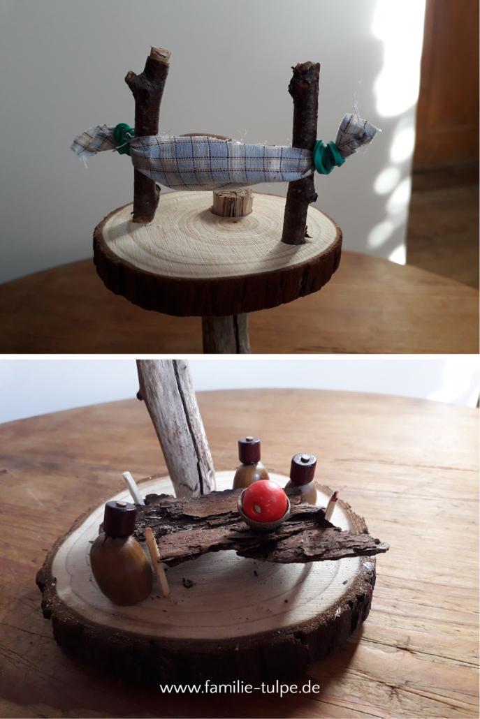 Möbel, Hängematte und Tisch aus Rinde und Naturmaterial - Baumhaus, Wichtelhaus