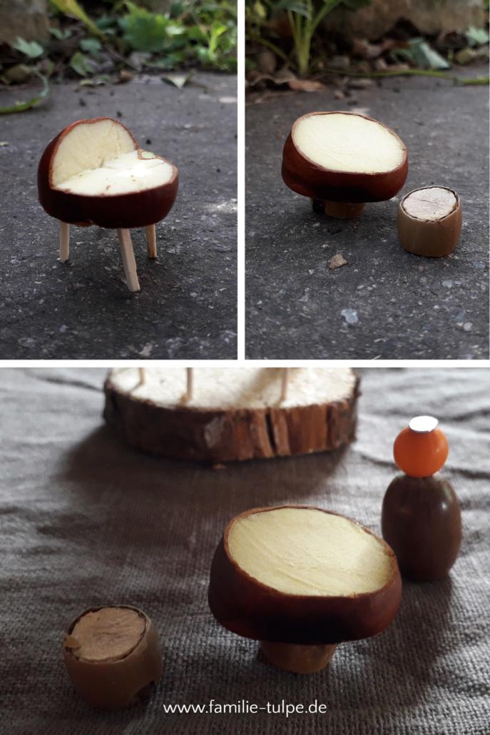 Möbel aus Kastanien, Streichhölzern, Ästen und Naturmaterialien