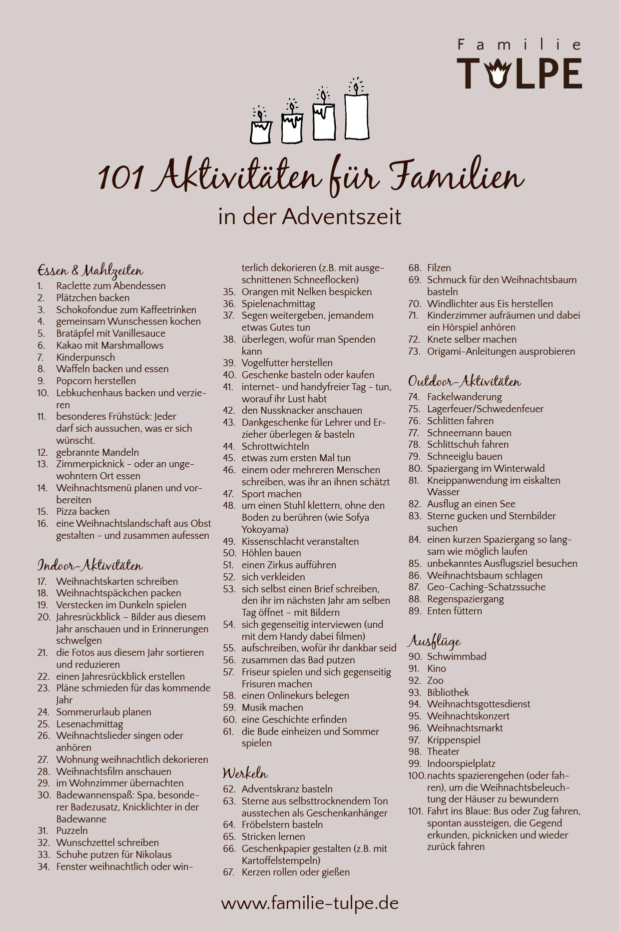 Aktivitäten-Adventskalender_101 Aktivitäten für Familien in der Adventszeit